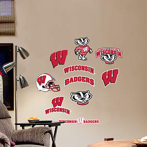 Wisconsin Badgers - Team Logo Assortment Fathead Wall Decal